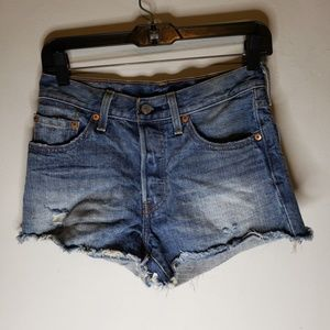 Levi's 501 Cut Off Raw Hem Denim Jean Shorts